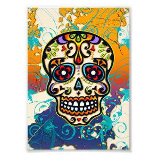 Cráneo mexicano del azúcar, día de los muertos arte con fotos