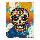 Cráneo mexicano del azúcar, día de los muertos postales