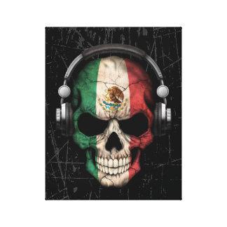 Cráneo mexicano rasguñado de DJ con los Impresión En Lienzo Estirada