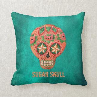 Cráneo mexicano rojo del azúcar cojín decorativo