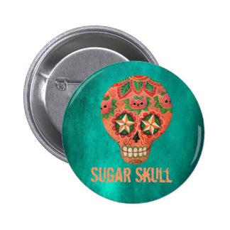 Cráneo mexicano rojo del azúcar pin redondo 5 cm