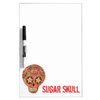 Cráneo mexicano rojo del azúcar pizarra