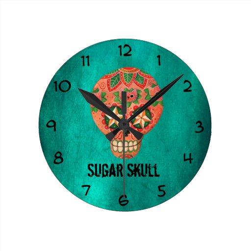 Cráneo mexicano rojo del azúcar reloj redondo mediano