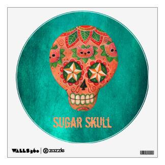 Cráneo mexicano rojo del azúcar vinilo