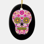 Cráneo mexicano rosado del azúcar ornamentos de navidad