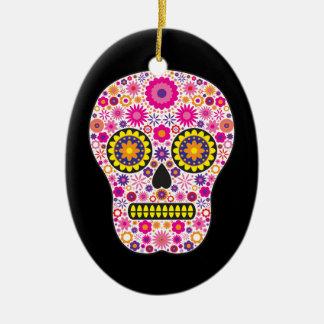 Cráneo mexicano rosado del azúcar adorno ovalado de cerámica