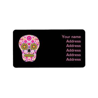 Cráneo mexicano rosado del azúcar etiquetas de dirección