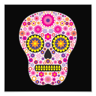 Cráneo mexicano rosado del azúcar fotografías