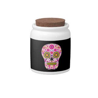 Cráneo mexicano rosado del azúcar jarras para caramelos