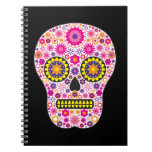 Cráneo mexicano rosado del azúcar libretas espirales