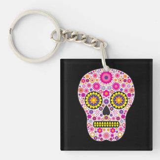 Cráneo mexicano rosado del azúcar llavero cuadrado acrílico a una cara