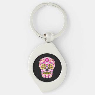 Cráneo mexicano rosado del azúcar llavero plateado en forma de espiral