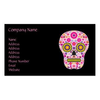 Cráneo mexicano rosado del azúcar tarjetas de visita