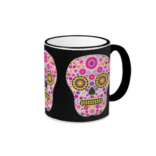 Cráneo mexicano rosado del azúcar taza de dos colores