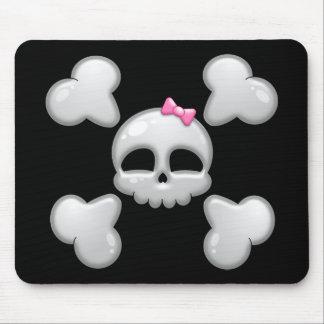 Cráneo Mousepad del dibujo animado del chica Alfombrillas De Raton