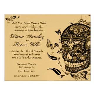 Cráneo Muertes del azúcar en el papel metálico del Invitacion Personalizada