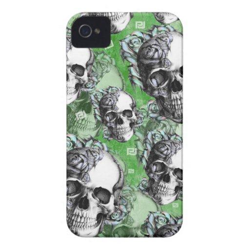 Cráneo multi verde para la salud mental iPhone 4 fundas