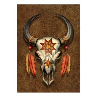 Cráneo nativo adornado de Bull con las plumas Tarjeta De Negocio