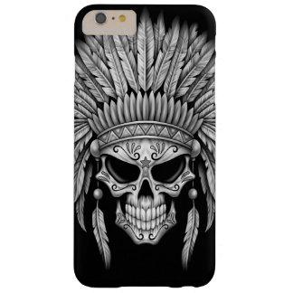 Cráneo nativo oscuro del azúcar con el tocado funda barely there iPhone 6 plus