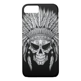 Cráneo nativo oscuro del azúcar con el tocado funda iPhone 7