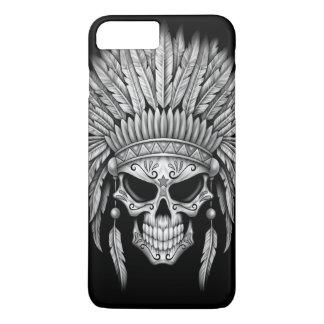 Cráneo nativo oscuro del azúcar con el tocado funda iPhone 7 plus