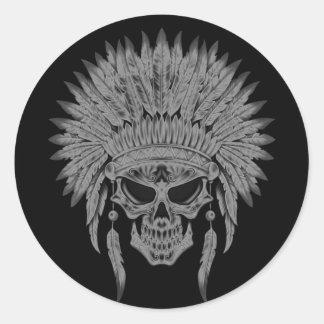 Cráneo nativo oscuro pegatinas redondas
