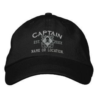 Cráneo náutico personalizado del capitán de mar gorro bordado