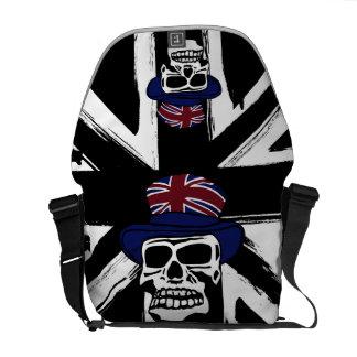 Cráneo negro abstracto retro del punk del Union Ja Bolsa Messenger