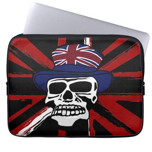 Cráneo negro abstracto retro del punk del Union Ja Fundas Portátiles