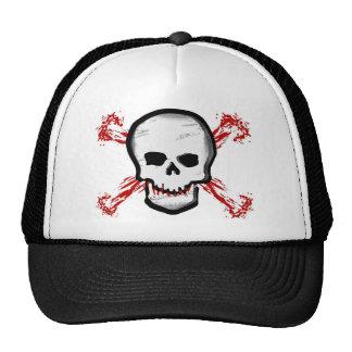 Cráneo negro/blanco y huesos cruzados sangrientos gorra