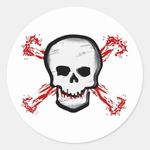 Cráneo negro/blanco y huesos cruzados sangrientos pegatinas redondas