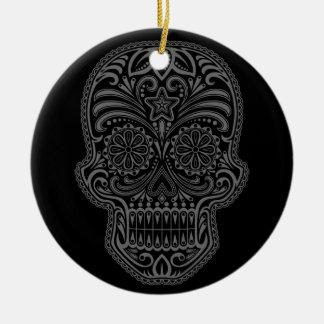 Cráneo negro complejo del azúcar ornamento de navidad