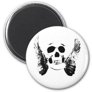 Cráneo negro imán redondo 5 cm