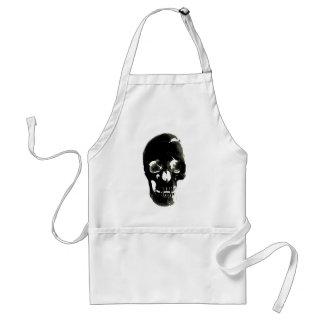 Cráneo negro - imagen negativa delantal