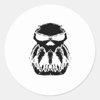 Cráneo negro etiquetas redondas