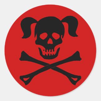 Cráneo negro y bandera pirata con las coletas etiquetas