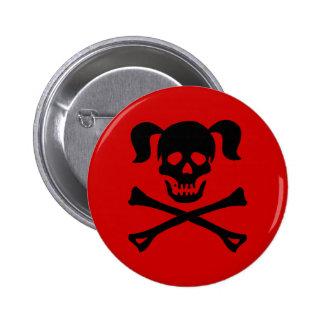 Cráneo negro y bandera pirata con las coletas pin redondo de 2 pulgadas
