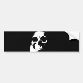 Cráneo negro y blanco pegatina para auto