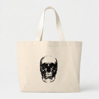 Cráneo negro y blanco del arte pop bolsa de tela grande
