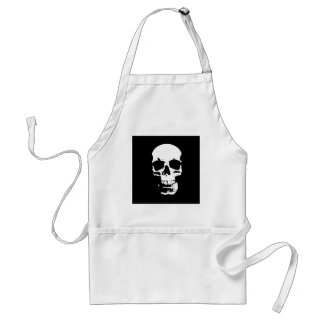 Cráneo negro y blanco del arte pop delantal