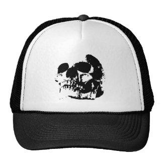 Cráneo negro y blanco del arte pop gorra