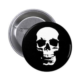 Cráneo negro y blanco del arte pop pin redondo de 2 pulgadas