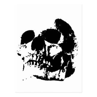 Cráneo negro y blanco del arte pop tarjetas postales