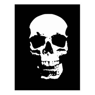 Cráneo negro y blanco del arte pop postales