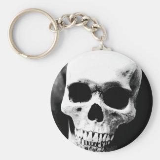 Cráneo negro y blanco llavero redondo tipo pin