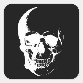 Cráneo negro y blanco calcomanía cuadradas personalizadas