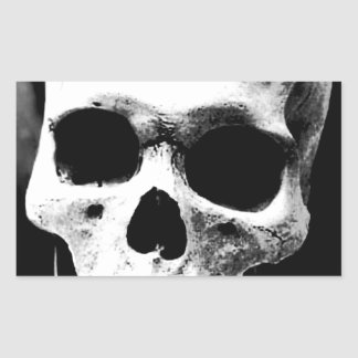 Cráneo negro y blanco pegatina rectangular