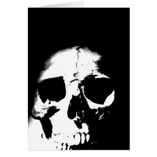 Cráneo negro y blanco tarjeta de felicitación