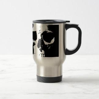 Cráneo negro y blanco taza de viaje de acero inoxidable