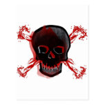 Cráneo negro y huesos cruzados sangrientos tarjeta postal